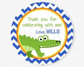 Alligator Favor Tags, Alligator Birthday Party Favors, Gator Favor Tags, Boy Birthday Tag, Personalized