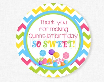Candy Favor Tags, Sweet Shoppe Party Favors, Thank You Tag, Candyland Gift Tag, Girl Birthday Tag, Personalized