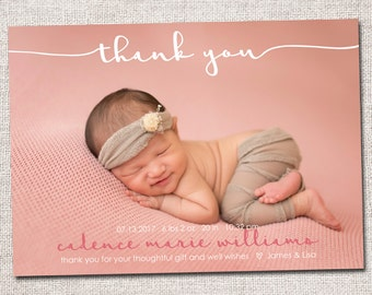 Birth announcement, baby girl announcement, baby announcement, thank you card, printable, girl, boy birth announcement thank you card