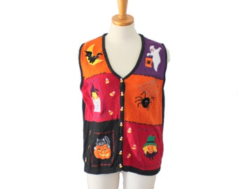 Vintage 90s Candy Corn Pumpkin Halloween Sweater Vest - Women Medium