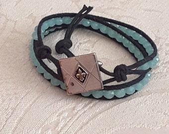 Double wrap leather bracelet in light green