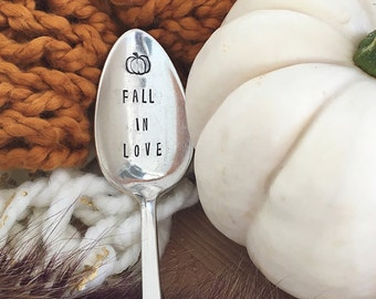 Fall in Love - Hand Stamped Vintage Coffee Spoon