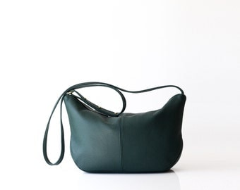 Soft leather sling bag OPELLE Roberta Sling bag hobo handbag EMERALD