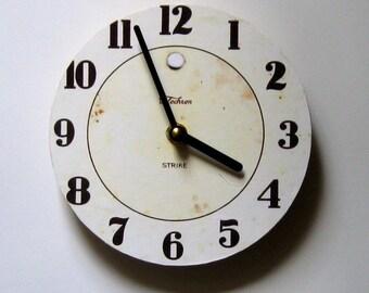 Wall clock. Retro clock. Small wall clock.  Vintage clock. Republica of a mid century clock.  CD clock. Recycled CD.