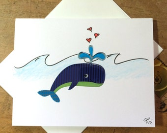 Whale Valentines Day Card, Whale you be mine, and drawn, Whale Pun Card, made on recycled paper comes with envelope and seal