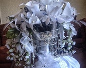 Bridal Bouquet Exquisite Handmade Heirloom w Swarovski Crystals and Pearls Any Color OOAK Made to Order