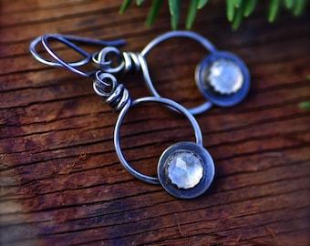 SALE.. Rainbow Moonstone Gemstone Earrings. Moonstone Metal Work Jewelry.  Rainbow Moonstone Metal Smith Jewelry