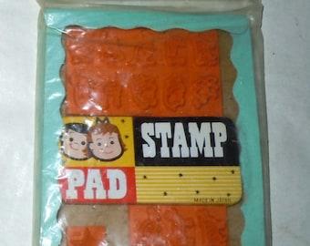 Vintage 1960s childs dime store Stamp Set