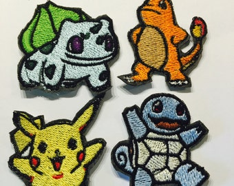 Iron-On Pokemon Patches, Machine Embroidered, 2inch 5cm pikachu bulbasaur charmander squirtle gen1 starters, MSD SD BJD