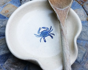 Ceramic Spoon Rest Cream Color with Maryland Blue Crab
