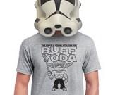 buff yoda t-shirt star wars tshirt the force funny death star storm trooper darth vader hans solo for geek nerd fanboy techie teen s-4xl