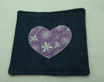 Denim coaster - purple flower heart