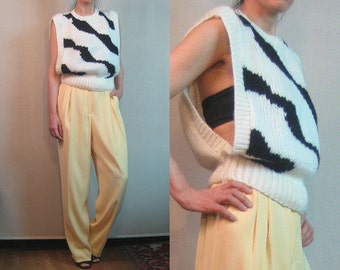 80s OPEN SIDES KNIT Tiger Stripes Vintage Cropped Crop Off White Cream Ivory Black Chunky Knitted Sweater Vest Top xs Small s/m 1980s