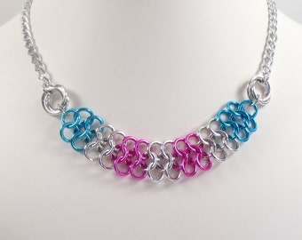 Pink and Blue Chain Mail Necklace, European 4 in 1 and Love Knot Necklace, Chainmaille Jewelry, Turquoise and Bright Pink Chainmail