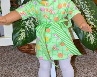 18 Inch Doll Clothes Knit Short Sleeve Green Print Shift Style Mini Dress and White Footed Tights by SEWSWEETDAISY