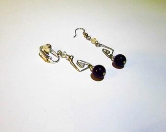 Purple Earrings ~ Purple clip earrings ~ Clip On Earrings ~ Amethyst Drop Earrings Clip or Pierced