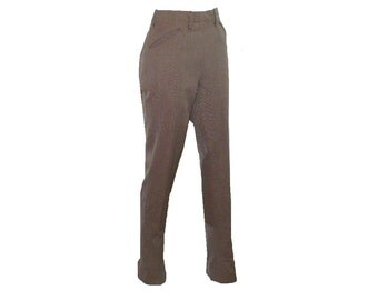 M/8 Vintage 1950's Women's Riding Pants, Equestrian Wool Pants, Brown Side Zipper Pants Medium 8