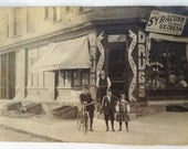 1908 Photo Postcard Corner Drugstore Syracuse Ice Cream