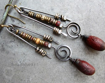 Tempest. artisan earrings primitive rustic tribal boho Czech picasso mixed metals Burgundy red Polypods jewelry assemblage