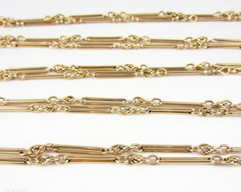 Victorian Antique 9 Carat Gold Long Guard Chain, Alternating Bar & Knot Links with Dog Clip for Pendant, Lockets, Charms. 1880s, 147 cm.