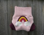 Upcycled Wool  Soaker Cover Diaper Cover With Added Doubler Pink/ Plum With Rainbow  Applique NEWBORN 0-3M Kidsgogreen