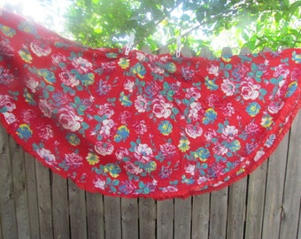 Vintage Flannel Circle Skirt Maxi Roses Chic Country Cottage Boho dress festival skirt / Gypsy / wanderlust