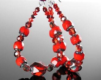 Long Red Hoop Earrings Sterling Silver Earrings Bright Red Bohemian Glass Beaded Hoops Red Crystal Drop Dangle Earrings Boho Jewelry