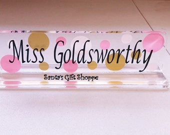Teacher Appreciation Gift- acrylic name plate - teachers name plate -desk name plate-acrylic name desk plate,Christmas gift,Valentine's Day,