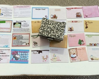 Rustic RECIPE BOX with 32 Index Cards  -  Dollhouse Miniature 1:12 Scale