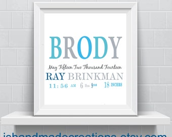 nursery baby pritn birth stats  new baby or first year baptism gift  nursery wall decor- Typography sign - Custom Quote Wall Art
