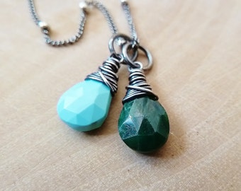 Any 2 birthstone necklace. Gold or Silver. Personalized. Custom. Birthstone. Turquoise. Emerald. May birthstone. December. Zodiac. Taurus