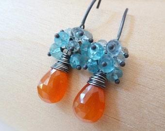 3DAY SALE Orange Carnelian Blue Apatite Aquamarine cluster earrings. Dangle earrings. Wire wrapped handmade earrings. Gemstone jewelry.