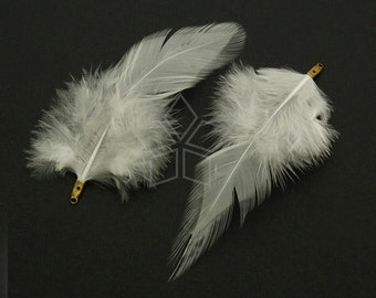 FT-034-WT / 2 pcs - Rooster Hackles Feather Pendant, Handmade White Feather Charm, Natural Bohemian Plume Pendant / 70mm