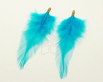 FT-036-BL / 2 pcs - Rooster Hackles Feather Pendant, Handmade Sky Blue Feather Charm, Natural Bohemian Plume Pendant / 70mm