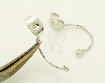 EA-174-OR / 4 Pcs - Ear Studs Back Stoppers with Loop, Ear jacket, Silver Plated over Brass / 18mm