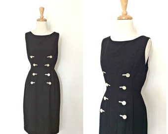 1950s Dress - wiggle dress - 50s party dress -  LBD -  pin up - fitted dress -midi - Tabak - Medium