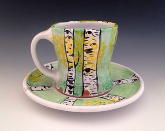 Mug Set, Pottery Cup and Plate with Aspen Trees, 10 oz.