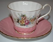 Aynsley cup and saucer - pink and white with roses - tea party - cabbage roses