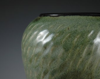 Olive Green Wide Mouth Stoneware Vase With Carved texture