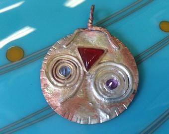 Copper, Silver Gold Pendant- WACKY -n- WILD