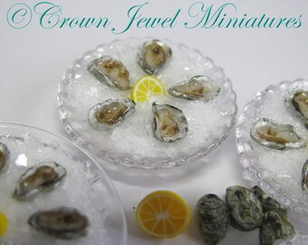 1:12 One Plate of Realistic Oysters On Half Shell by IGMA Artisan Robin Brady-Boxwell - Crown Jewel Miniatures