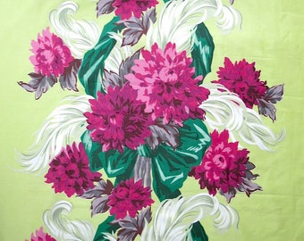 Vintage Waverly Fabric - Floral Cotton Upholstery Yardage Regency Chartreuse Pink Peony Feather  36 In Width 12 yds 1940s Sateen