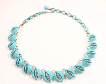 Lisner Necklace, Vintage Jewelry, Lisner Lucite Blue Necklace, Lucite Jewelry, Lisner Choker, Blue Vintage Choker Necklace, Lisner Jewelry