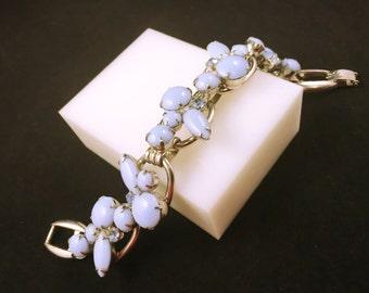 JULIANA RHINESTONE BRACELET, Delizza and Elster,  D & E, Pale Blue Milk Glass Cabochons, 5 Link Vintage Rhinestone Bracelet, Juliana Jewelry