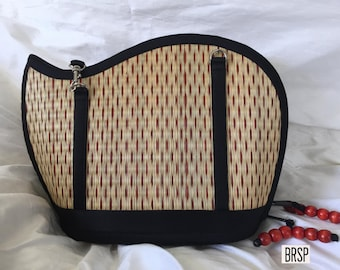 Handmade red purse woven grass not bamboo wave shape crossbody or over the shoulder BRSP