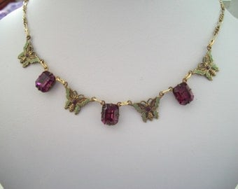 Sadie Green Butterfly and Purple Crystal Necklace