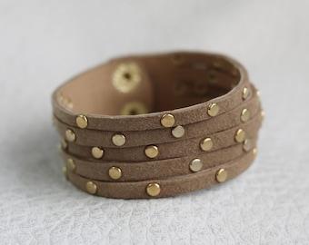 Multi Strand Leather Cuff, Tan Suede Bracelet, Gold Rivets Beacelet