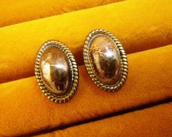 Mexico Sterling Silver Oval Earrings Posts