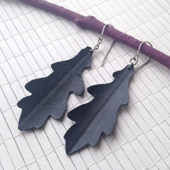 Black Oak Leaf Silhouette - Eco Friendly Rubber Earrings