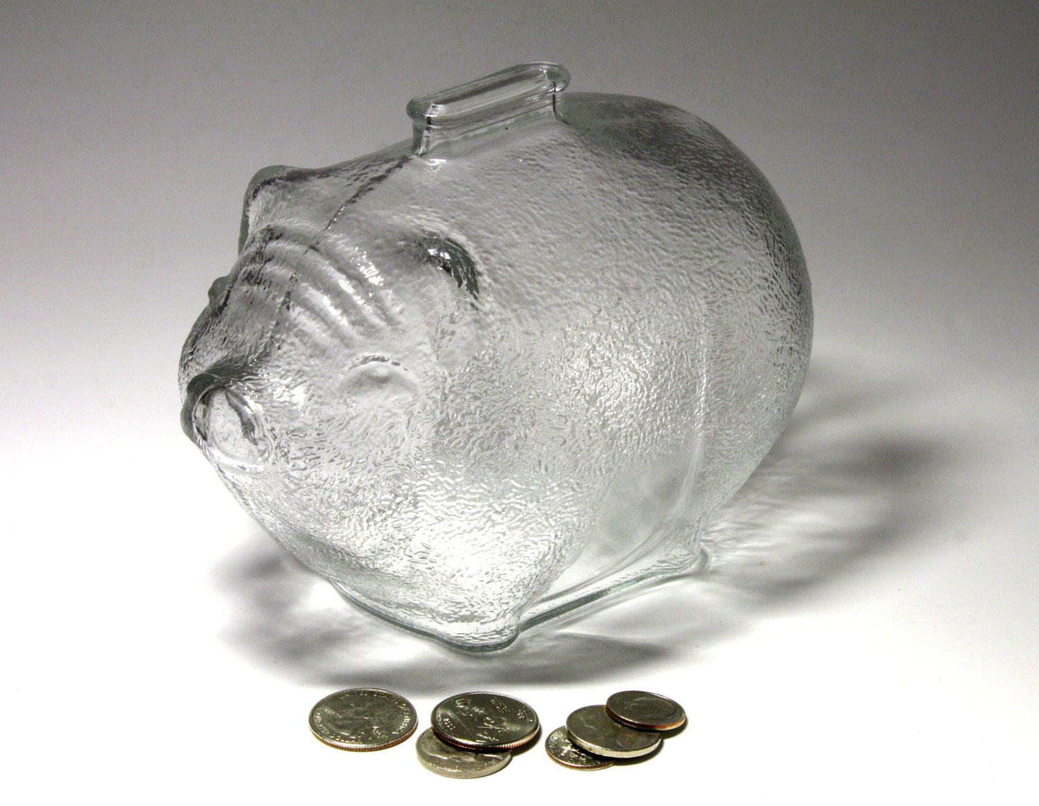 Vintage Anchor Hocking Large Glass Piggy Bank By